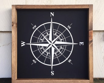 Painted Compass Framed Wood Sign, Explore Theme Kids Room Decor, Travel Gallery Wall Hanging, Adventure Gift, Custom Direction Wall Art