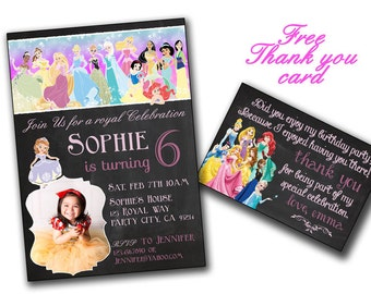 All Disney princesses in Chalkboard birthday card,front and back,All Princesses Disney Invitation,Princess Birthday,Princess Printable
