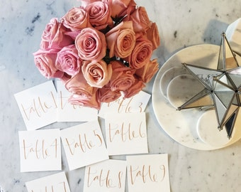 Custom Square 12cm x 12cm Hand Drawn Rose Gold Lettering Sign / Modern / Table Number Signs / Calligraphy / Party Wedding Birthday Hens /