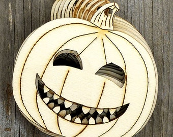 10 x Wooden Halloween Happy Pumpkin Face Craft Shapes 3mm Plywood