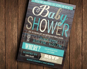 Baby Boy Shower Invitation | Blues & Browns | Rustic | Printable | DIY
