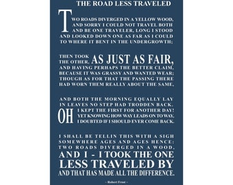 The Road Less Traveled - Robert Frost - Ready To Hang Canvas Gallery Wrap - Available Sizes (8x12) (12x18) (16x24) (18x24) (20x30) (24x36)