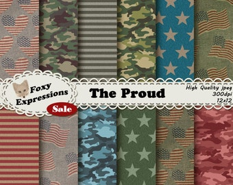 The Proud Digital Paper pack comes in shades of red, white, blue and green. Patterns include stars, stripes, flags, hearts, & camo on burlap