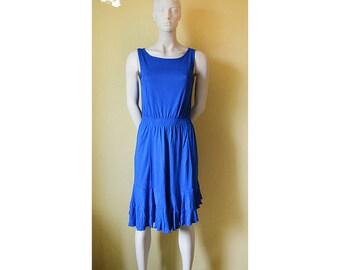 Vintage dress, bright blue dress, Women's dress, Summer dress,  casual dress, bright dress, super soft, asimetrical dress, elastic dress