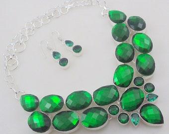 Fire Topaz-Diopside Stone .925 Silver handmade Necklace Jewelery (Jh-82)