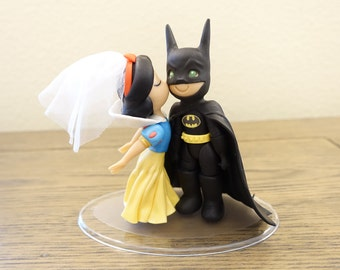 Snow White and Batman Cake Topper. Wedding Cake Topper. Snow White & Batman.