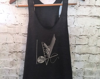 Peace and love tank top- yoga tank-yoga top-racerback tank top-American apparel tanks