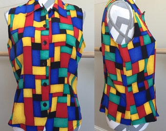 Color Blocked Sleeveless Blouse Size 8