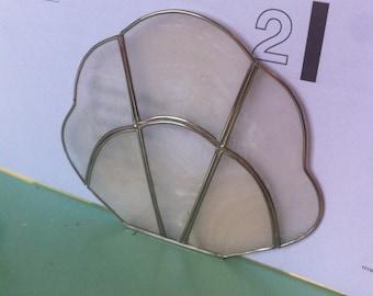 Vintage capiz shell letter rack napkin holder 70s tableware