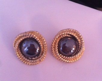 Brass and gem clip earrings from 1950s vintage antique retro