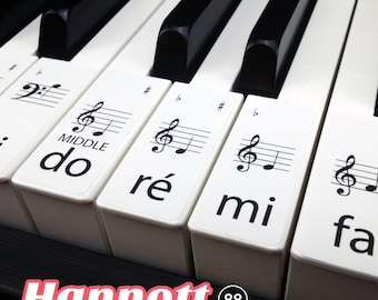 Solfège Keyboard / Piano Stickers SET up to 88 KEYS the best way to learn Piano