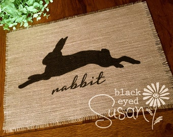 """Rabbit Silhouette Placemat of Natural Burlap with Raw and Reinforced Edge 