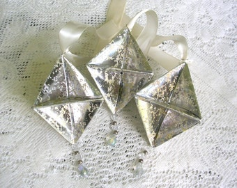 Silver Origami Ornaments - Mercury Glass Paper Christmas Decorations - Origami Christmas Ornaments - Origami Decorations - Boho Ornament