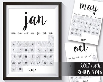 SALE! Printable 2017 Calendar with BONUS 2016 Calendar, 12 Month Calendar Printable, 2017 & 2016 Monthly Calendar, Wall Calendar Printable