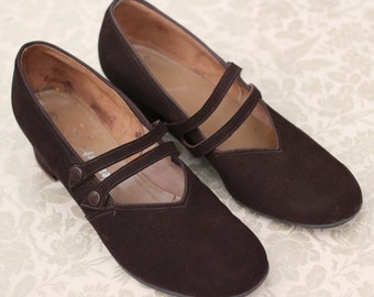 Vintage 1940s 40s Brown Suede Mary Jane double strap pumps shoes UK 4 US 6.5 low heel