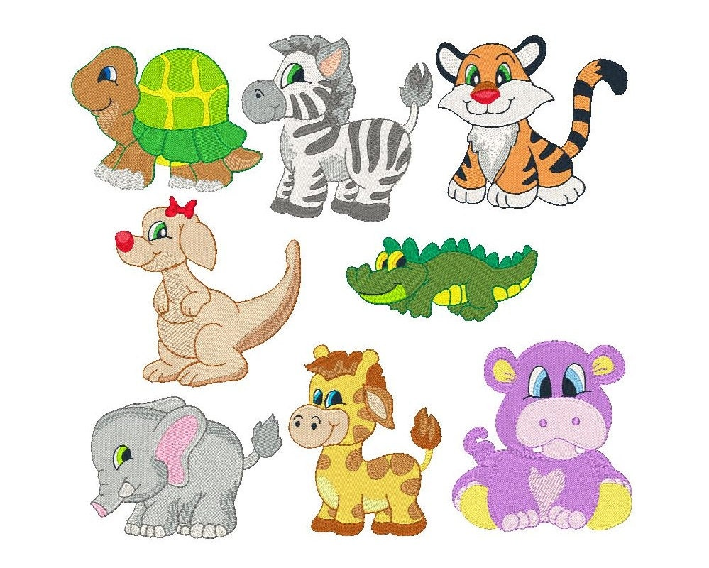 Cute animal machine embroidery designs fill stitch