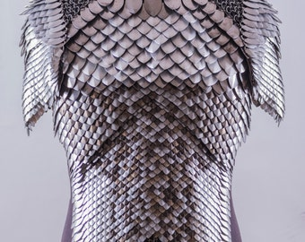 Modular Chainmail & Scale mail Top with Shoulder Armor Costume
