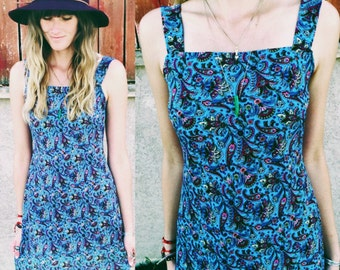 Women's Vintage 90's Effortlessly Boho Chic Paisley Print Mini Shift Dress Size Small