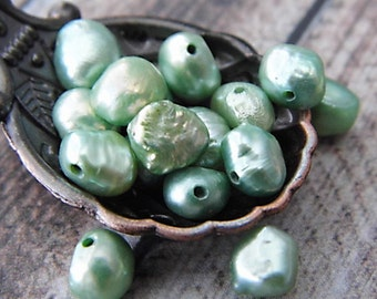LAST ONES!!Mershun Green Pearl Beads, Pearl Beads, Bead Supplies
