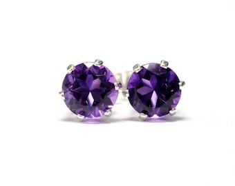African amethyst earrings 5mm;Stud Earrings;Sterling silver earrings;Purple Earrings;Post Earrings;February birthstone;BFF Gift