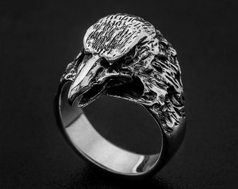 Sterling Silver Eagle Ring-Viking Eagle ring-Eagle head ring-Sterling Silver Bird Ring-Sterling Silver Hawk Ring-Bird ring-Totem eagle ring