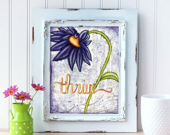 Purple Daisy Art Print. Thrive Wall Art. Mixed Media Art. Flower Print. Inspirational Decor. Mother's Day Gift. Gift for Mom. Gift for Her.