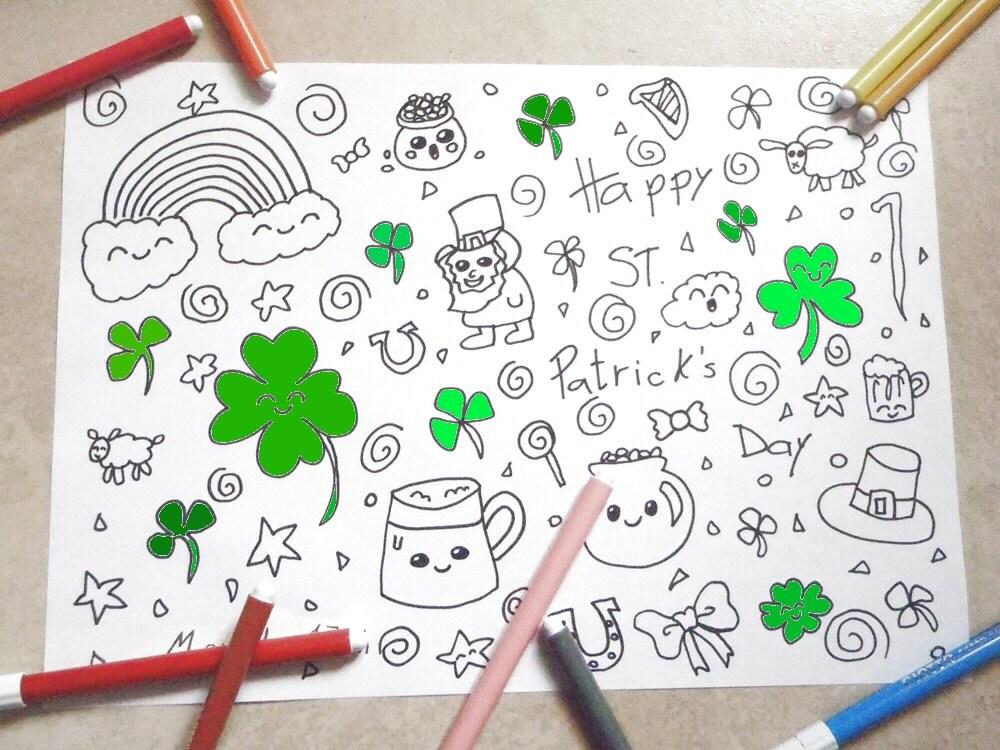 San patrizio disegno da colorare kawaii bambini trifoglio for Immagini disegni kawaii