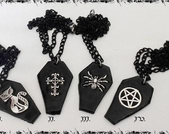 Gothic coffin necklace in 4 designs