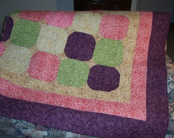 Round The Block Queen Size Purple Yellow Green All of my quilts will be 20% off through April,30,2017