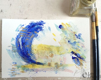 Paint palette 1, abstract painting, Watercolour, ink illustration, oil paint, Postcard painting, A6 sized, Bright coloured painting.