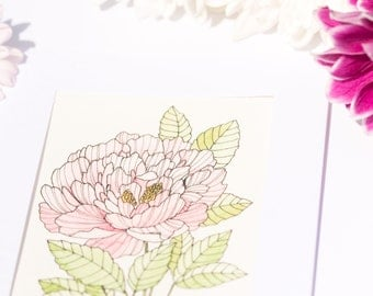 Light Pink Peony, Flower - Watercolour Unique Hand Painted Greeting Card (Anniversary, Birthday, Thank you, Get well, Good luck card)