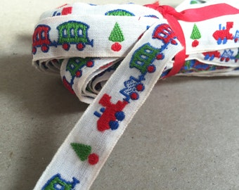 Vintage 70s Ribbon: Choo Choo train 1.8 cm x 5, 50 m / 6 yards