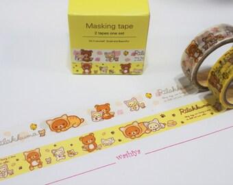 Set of 2 Cute Washi / Masking Tapes (Rilakkuma) - For scrapbooking, journalling, DIY