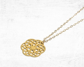 Geometric necklace, gold necklace, seed of life necklace, long necklace, mandala necklace, everyday necklace, gift for her.