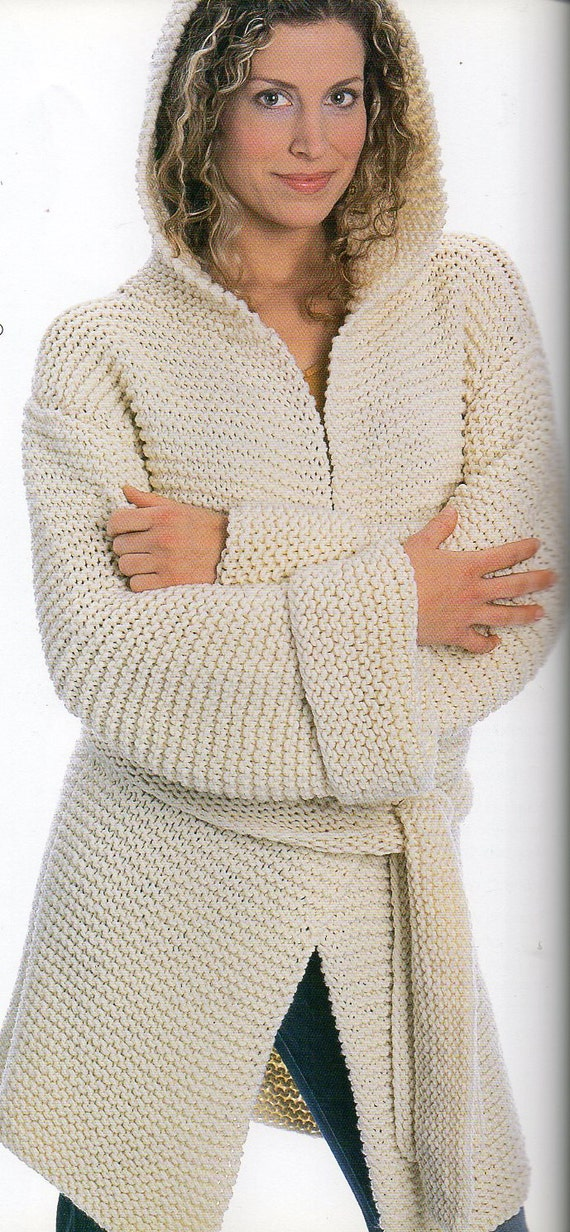 Knitting Pattern Hooded Jacket : Hooded Big Coat Jacket Knitting Pattern Long Coat Jacket With