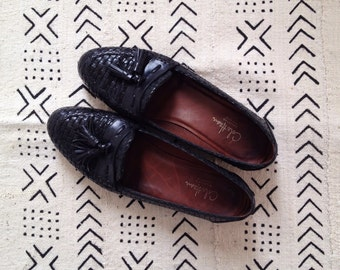 Vintage Cole Haan Black Leather Woven Tassel Loafers 7 | 7.5