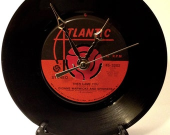 "Recycled DIONNE WARWICKE & The Spinners 7"" Record • Then Came You • Record Clock"