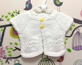 Hand Knitted Newborn Baby Cardigan Top, Christening, Premium Organic Cotton, Soft, Made in Australia