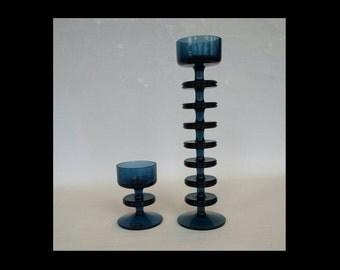 Ronald Stennett-Wilson  Sherringham 7 Disk Candlestick Holder, Kings Lynn Glass Wedgwood Glass, Blue Glass, Wedgewood Glass, Candle Holder