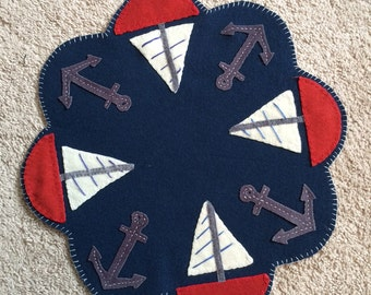 Smooth Sailing Ships & Anchors Candle Table Mat