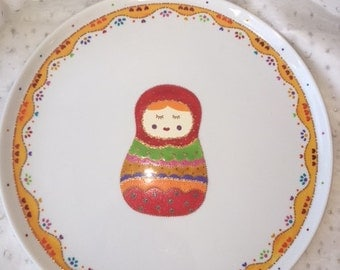 Russian doll multicolored pie dish