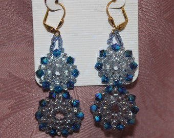 Earrings, Blue and Clear Crystal Flowers, E 0344