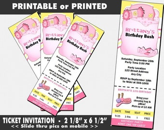 Slumber Party Ticket Invitations, Printable with Printed Option, Girl Birthday Party, Sleep Over Theme