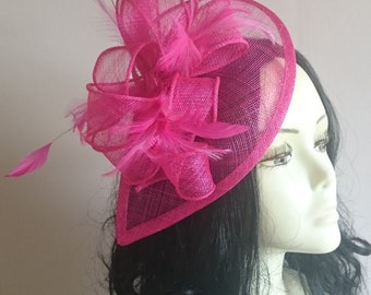 Hot Pink Teardrop Sinamay Fascinator with Feathers Weddings-Ascot-Races