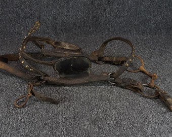 Vintage Leather Horse Bridle With Blinders