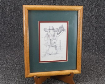 Vintage Hare Trigger By Sue Rupp Sheriff Bunny 5X7 Framed Print C.1992