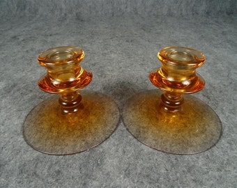 Vintage Pair of Decorative Amber Glass Candle Holders.