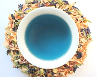 Color changing BLUE tea! // 100% Organic Butterfly Pea // Glass