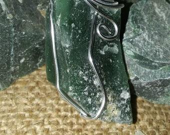 Amythest,green,rare,rock, necklace, pendant,amulet,boho, birthstone, February, free people