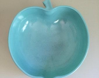 Vintage Hazel Atlas Apple Bowl Turquoise Large